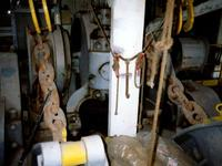 looking aft at the double capstan windlass